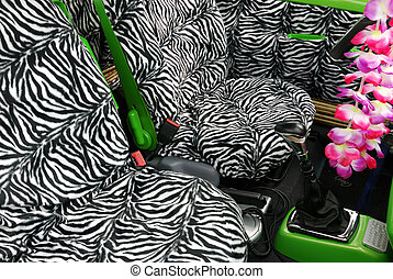 Zebra seats - Seats inside a funky car ready for a safari...