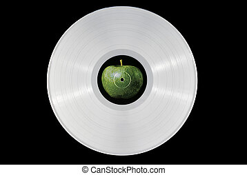 White vinyl record - White 33 rpm record with an apple...