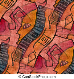 cubism orange face note palette graphic picture seamless...