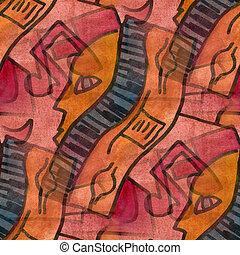 Cubismo, laranja, rosto, nota, paleta, gráfico,...