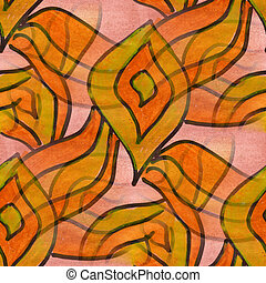 cubism orange yellow petals palette graphic picture seamless...