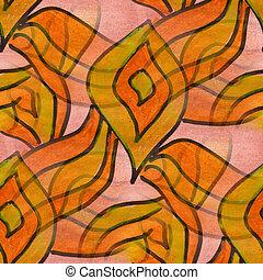 Cubismo, laranja, amarela, pétalas, paleta,...
