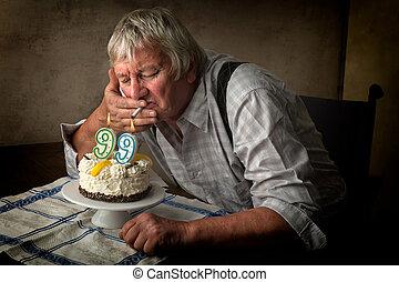 só, Idoso, homem, ligado, aniversário,