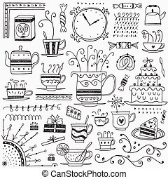 Tea and coffee cups doodles