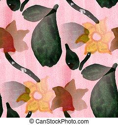 seamless watercolor flowers black pink handmade wallpaper -...
