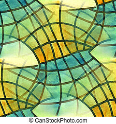 Seamless yellow blue mesh wave curves stripes cubism...