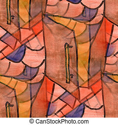 Cubismo, Cor-de-rosa, PORTA, paleta, gráfico, quadro,...