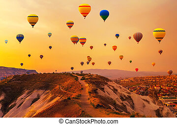 balloons CappadociaTurkey. - Hot air balloons in mountain...