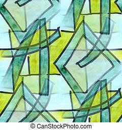 Cubismo, verde, azul, linhas, seamless, textura, aquarela,...