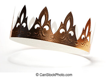 Golden crown made of cardboard from Epiphany cake