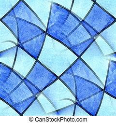 Seamless, azul, quadrado, Cubismo, abstratos, aquarela,...