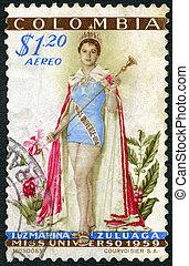 COLOMBIA - CIRCA 1959: shows Luz Marina Zuluaga (born 1938),...