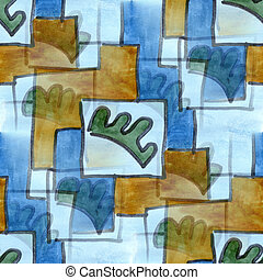 Cubismo, Marrom, azul, quadrado, seamless, textura,...