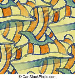 Cubismo, laranja, azul, seamless, textura, aquarela, fundo,...