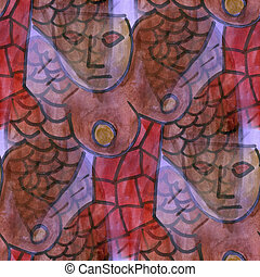 cubism woman chest Phoenix seamless texture watercolor...