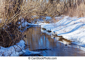 Winter Landscape with Forest and River