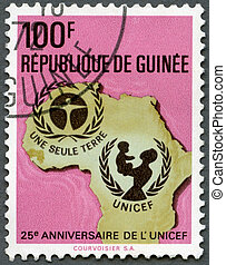 GUINEA - 1971: shows UNICEF Emblem, Map of Africa, series...