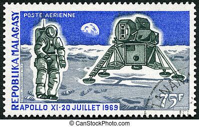 MALAGASY REPUBLIC - 1969: shows Apollo 11 Lunar Landing...