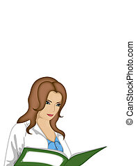 illustration of   girl in a robe with a magazine