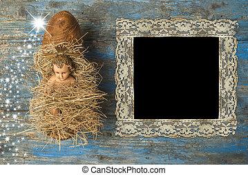 vendemmia, cornice, tempo, Natale, foto