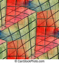 Seamless net red green square cubism abstract watercolor...