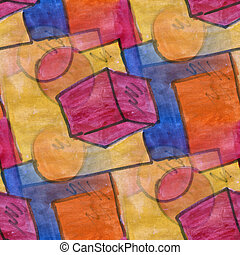 Seamless brown red circle square cubism abstract watercolor...