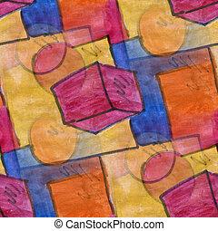 Seamless, Marrom, vermelho, círculo, quadrado,...