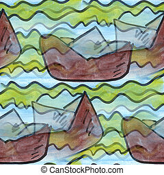 cubism paper boat water seamless texture watercolor...