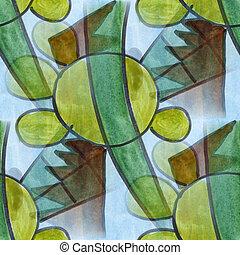 Cubismo, círculo, verde, azul, listras, seamless,...