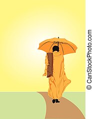 Monk - A monk walking with an umbrella