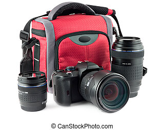 Photo accessories - kit of camera, bag for the camera and...