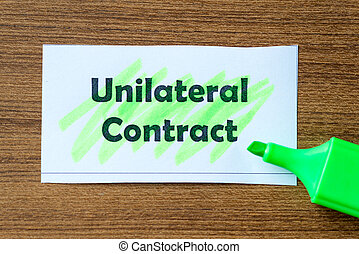 unilateral contract word hightlighted - unilateral contract...