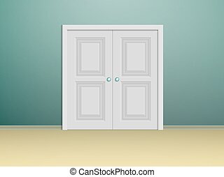 double-wing white doors - double white panelled doors in a...