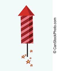 Red fireworks rocket flying.eps