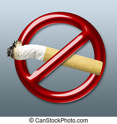 Cigarette - Illustration of a red symbol of an interdiction...
