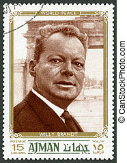 UAE - 1970 : shows Willy Brandt 1913-1992, politician - UAE...