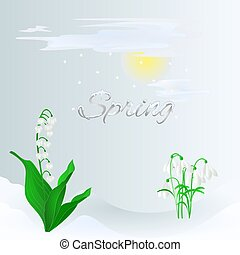Spring lily of the valley and snowdrops vector.eps - Spring...