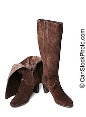 Suede boots on white background