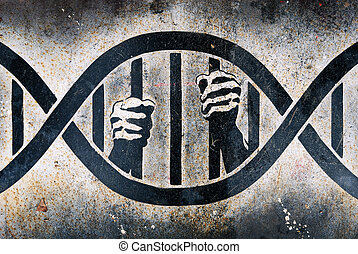 Imprisoned in DNA cage - Drawing of human hands grabbing DNA...