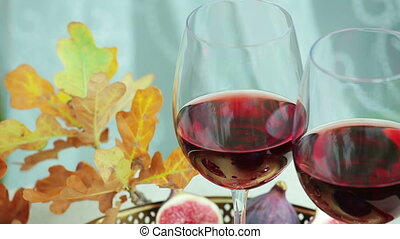 still life with red wine and berry - autumnal still life...