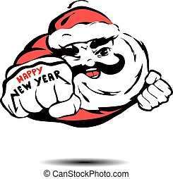 cool Santa Claus flies like Superman and wished a happy new...