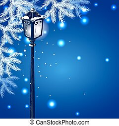 Christmas vintage streetlamp on the evening landscape...