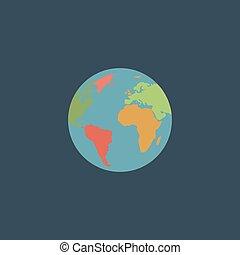 Pictograph of globe Colorful vector icon Simple retro color...