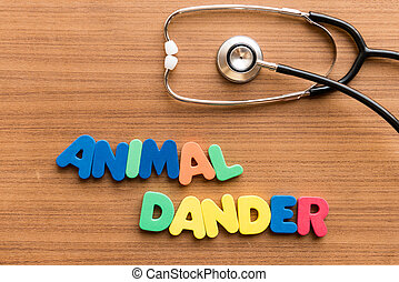 animal dander colorful word on the wooden background with...