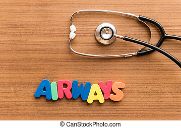 airways colorful word on the wooden background with...