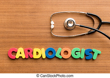 cardiologist colorful word on the wooden background with...