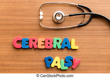 cerebral palsy colorful word on the wooden background with...