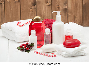 Shampoo, Soap Bar And Liquid. Toiletries, Spa Kit, Towels.