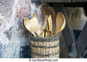 Wood Spoon and Pestle Collection on rustic background - A...