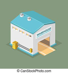 Warehouse vector illustration in the form of an isometric...